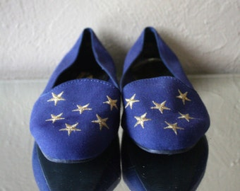 Vintage Navy Blue Canvas Flats with Gold Stars