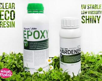 Eco transparente de la resina de la resina - 1,43 kg resina de Epoxy para hacer joyería, decoración y objetos poco-alta performance-super claro Uv estable