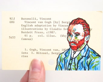 Vincent van Gogh Library Card Art - Print of my painting of a portrait of van Gogh on library card for the book Vincent van Gogh