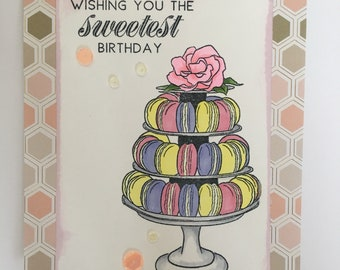 Happy Birthday Handmade Greeting Card, Have a sweet day, Happy Day, card with cookies Macarons