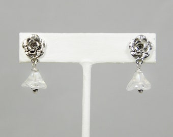 Antque Silver Flower Earrings with Crystal AB Bell Flowers and Surgical Steel Posts
