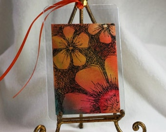 Red and gold aceo, abstract watercolor gift tag with ribbon, original orange multi flower aceo, floral pen and ink, botanical art aceo