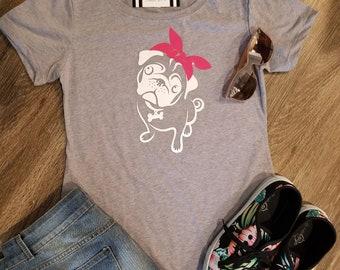 Red bandana dog t-shirt grey