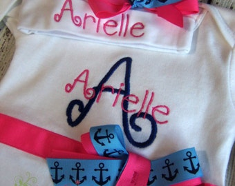 Newborn girl take home outfit, Personalized Take Home outfit, layette gown or bodysuit and Headband, nautical anchor navy and pinkbaby gift