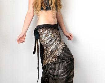 Long Skirt, Hippie Clothing, Black Skirt, Feather Skirt, Summer Skirt, Art Skirt, Digital Print Skirt, Beach Skirt, Festival Outfit