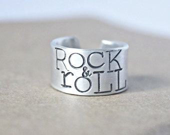 Mens ring, rock and roll, aluminum, adjustable ring, funny jewelry, womens, unisex, wide band ring, music,musician, affordable, wedding band