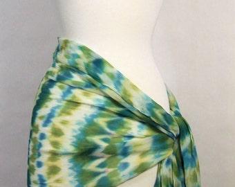 Hand Dyed Silk Chiffon Wrap Shawl Long Scarf Arashi Shibori Green Blue Multicolor Boho