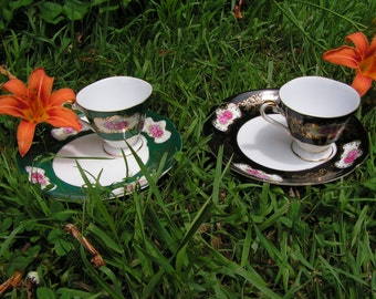 Decorative set of Teacups and Saucers - Four Cups and Six Saucers