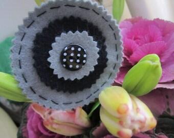 Wool Felt Brooch, Round Brooch, Grey and Black Brooch, Pin Brooch, Polka Dot Gift
