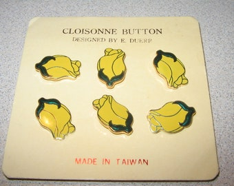 Button 6 Yellow Rose Cloisonne Vintage Antique Sewing Buttons PR#122