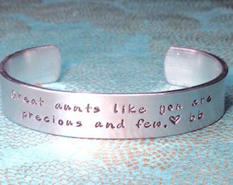 Aunt Gift | Auntie Gift | Tia Gift | Sister Gift | Great aunts like you are precious and few. | Custom Stamped Bracelet by MadeByMishka.com