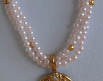 "Pretty Vintage Faux Pearl, Rhinestone Pendant Necklace, Removable Pendant, ""Roma"", 22"""