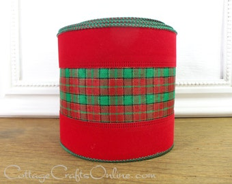 "Wired Ribbon 4"" Red, Green, Gold Metallic Plaid Velvet Edge, TEN YARD ROLL -  Offray ""Edinburgh"" Christmas Decor Wire Edged Ribbon"