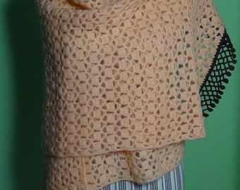Peach crochet scarf with fringe Brown