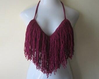 Fringe top, halter top, crochet fringe bikini top, MAGENTA, , gypsy clothing, festival top, Bohemian top