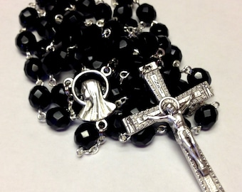 Catholic Handmade Large Black and Silver Rosary in Czech Glass Beads