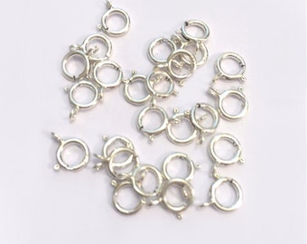 6mm Sterling Silver Spring Clasps 25 Pcs Bulk, Open Spring Clasps, 925 Sterling Silver or 14k Gold Filled 6mm Spring Clasps