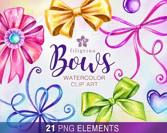 Festive BOWS watercolor Clip Art. Bow clipart mix curl, gift, birthday party invitation set, holiday ribbons illustrations. Read about usage