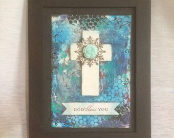 Bless You Framed Mixed Media Cross Art OOAK