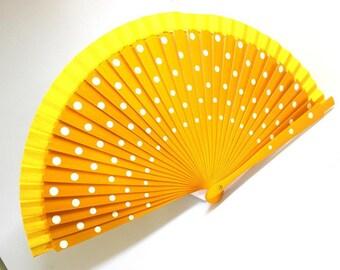 Hand Fans, hand fan, Abanico, fan in yellow with white dots