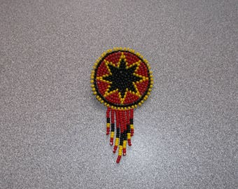 morningstar pin, native american beadwork