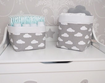 Clouds Pair of Fabric Storage Baskets -  Nappy Storage Nursery Decor Diaper Storage Baby Shower Gift - Grey White