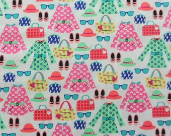 Girls Fabric Dresses Hats Shoes Sun Glasses Material Cotton Fabric Michael Miller Pink Green Orange Fabric