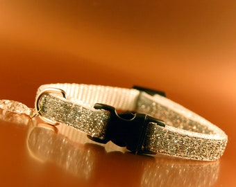 Silver Glitter Breakaway Cat Collar wIth Fish Charm