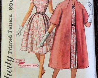 Vintage 1960's  Sewing Pattern Simplicity 3348 Misses' Dress and Coat  Bust 31 inches Complete