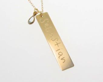 Collier or plaque verticale personnalisé manuscrite 14K Gold Bar collier, comme on le voit sur Kim Kardashian, jaune, blanc ou Or Rose
