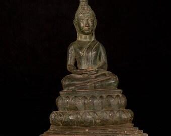 "19th Century Antique Laos Meditation Buddha Statue - 30cm/12"""