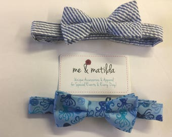 Little Boy's Bow Tie Set Navy Seersucker and Blue Octopus Ready to Ship