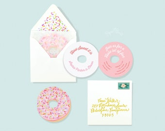 Donut Party, Donut Invitation, Donut Birthday Party Invite, Donut Grow Up Die Cut Pink Donut Sprinkles Donut Bridal Shower Donut Baby Shower