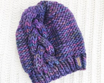 Cable Knit Beanie, 100% Wool Hand Knit Chunky Hat, Chunky Knit Beanie, Cable Knit Hat / / THE TRIADIC, Ready to Ship, OOAK
