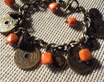 Brass coin bracelet, Antique plated coin and orange bead necklace, Antiqued coin charm bracelet