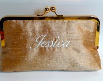 Bridal Clutch or Bridesmaids Clutch Dupioni Silk Monogrammed Name Clutch CUSTOMIZE