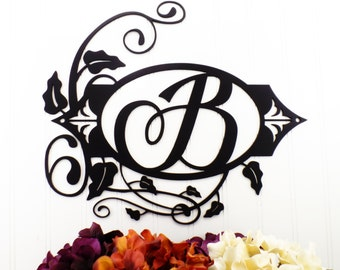 Monogram Metal Sign - Black, 15.5x13.25, Monogram Wall Art, Monogram, Monogram Wall Hanging, Metal Letter, Outdoor Sign