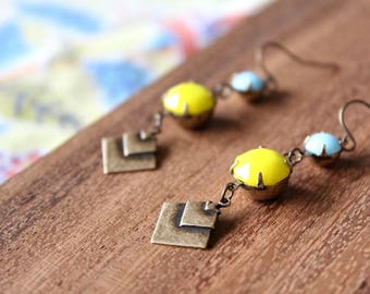 vintage glass gem + vintage brass earrings - bright lemon and sky blue