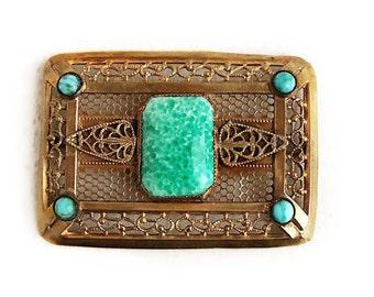 Antique Art Nouveau Green Peking Glass Cabochon C Clasp Sash Pin - 1900s
