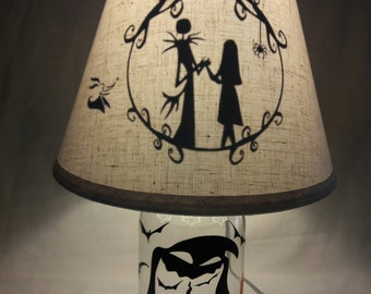 Mason Jar Lamp - The Nightmare Before Christmas influenced
