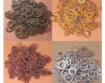 Gear Charms, Steampunk Gears, Wheel Cogs, Watch Gears, 4 Colors, Random Shapes and Sizes, DIY for Jewelry Making, Crafting, Etc, DIY-1
