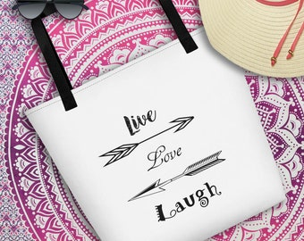 Live Love Laugh Beach Bag hand bag market bag grocery bag typography bag Recyclable tote beach bag boho arrows reusable bag woman's tote bag