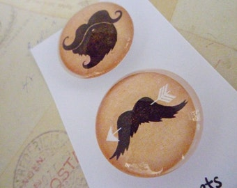 Groovy Moustaches - Round Glass Magnet Set