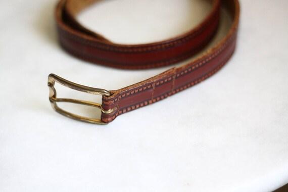 1970s cherry red leather belt // 1970s leather belt // vintage belt