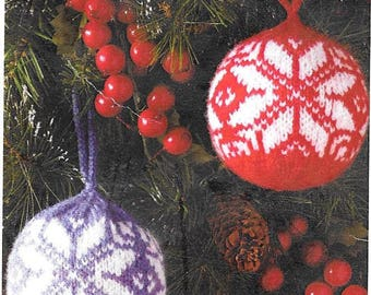 Fair Isle Christmas Ornaments, Hand Made Knitted, Tree or Everywhere Decorations