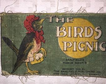 Antique muslin bookThe Birds Picnic 1909