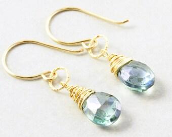 Green Quartz Dangle Earrings, Mint Green Earrings, Bridesmaid Gift