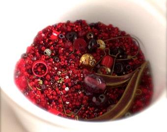 Red Heart destash Bead Mix #57 - 50 grams - Faceted Glass, Maroon Patina, Vintage Enamel Beadcap, Earwires, Goldfoil Glass