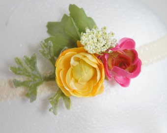 Pink/yellow rose, babys breath and lace floral headband