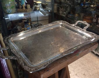 Large tray foliage with two handles - silversmith WM. ROGERS silver-plated